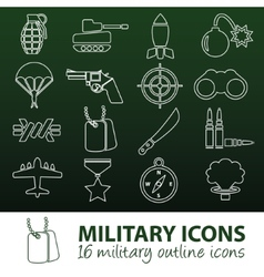 military outline icons vector image