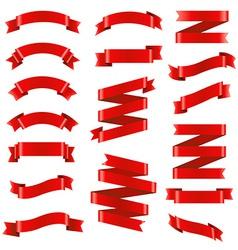 Red Ribbon Big Set vector image