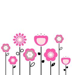 retro spring flowers vector image