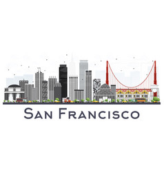 San francisco usa city skyline with gray vector