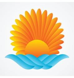 abstract sun sea vector image vector image