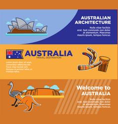 australia travel destinations promotional posters vector image vector image