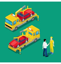 Isometric Car Assistance Roadside Tow Truck vector image vector image
