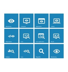Monitoring icons on blue background vector image vector image