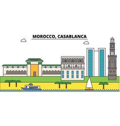 morocco casablanca outline city skyline linear vector image vector image