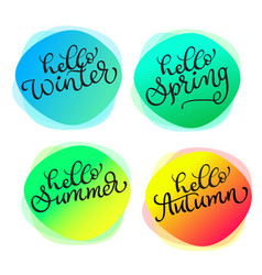 Set of greeting cards for all seasons hello summer vector