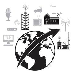 Globe worldwide antenna remote transmission vector
