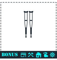 Health crutches icon flat vector image vector image