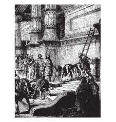 Hezekiah cleansing the temple vintage vector