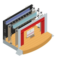 Isometric theater stage poster vector