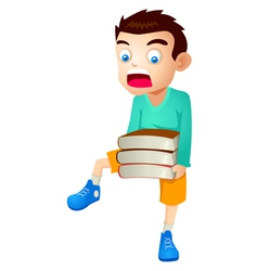 Kid With Books vector image