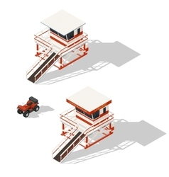 Lifeguard tower and quad bike isometric icons set vector image