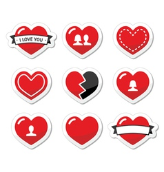 Love hearts labels set for Valentines Day vector image vector image