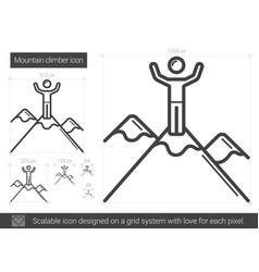 mountain climber line icon vector image