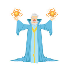 old bearded wizard in a blue robe holding two vector image