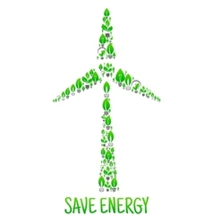 Save Energy Eco environment wind turbine vector image