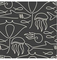 Seamless pattern made of sea fauna vector