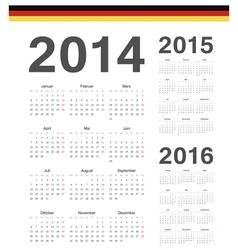 Set of german 2014 2015 2016 year calendars vector image vector image