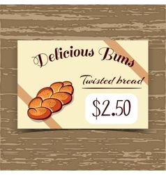 Price Tag Design Twisted Bread vector image vector image