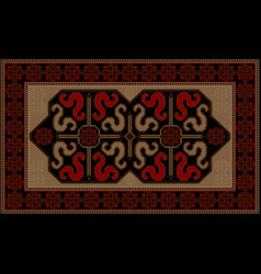 rug with ethnic pattern dragons on the black mid vector image vector image