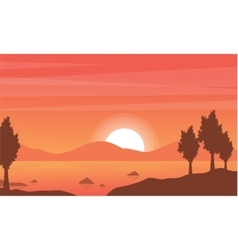 Silhouette of lake with mountain backgrounds vector image
