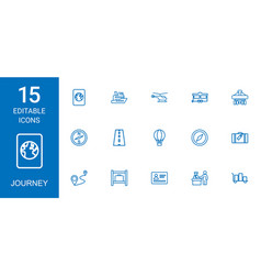 15 journey icons vector image