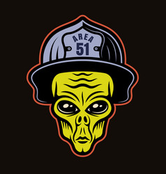 alien head in firefighter helmet character vector image