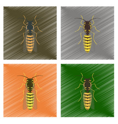 Assembly flat shading style insect vector