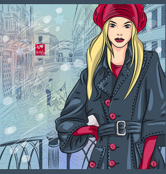 Beautiful fashion girl on the bridge of sighs vector