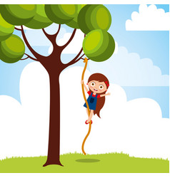 Beautiful girl climbing up with rope the tree vector