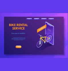 bike rental service landing page template vector image