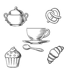 Breakfast with coffee and pastry desserts vector