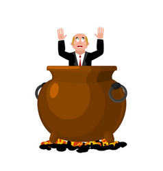 Businessman in infernal cauldron sinner in frying vector