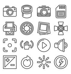 camera accessories and photography icons set line vector image