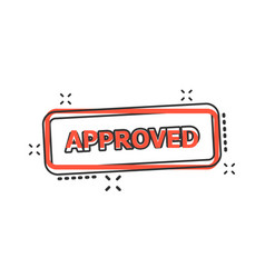 Cartoon approved seal stamp icon in comic style vector