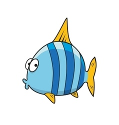 Cartoon isolated blue striped fish vector