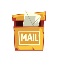 Cartoon of shabby mailbox with letter vector