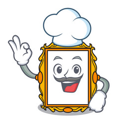 Chef picture frame character cartoon vector