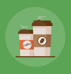 coffee cup with coffee beans on green background vector image