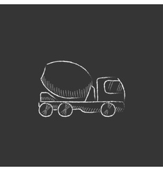 Concrete mixer truck Drawn in chalk icon vector