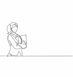 Continuous one line drawing young female waitress vector