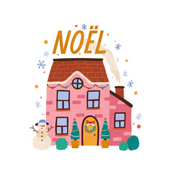 cozy decorated house with chimney cute and cozy vector image