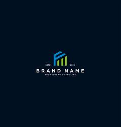Creative letter f financial chart logo design vector