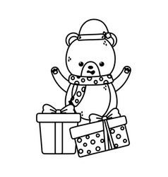 cute bear with gifts scarf and hat merry christmas vector image