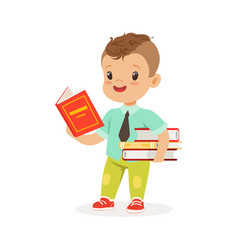 Cute boy reading a book while standing and holding vector