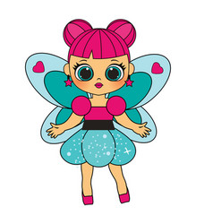 cute fashion winged fairy in cartoon children vector image
