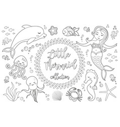 cute little mermaid and underwater world set vector image