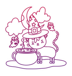 degraded outline cat wearing hat with pot cauldron vector image