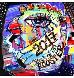 Digital painting artwork composition of chiken vector