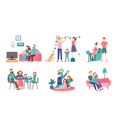 Family together at home young couple spend time vector